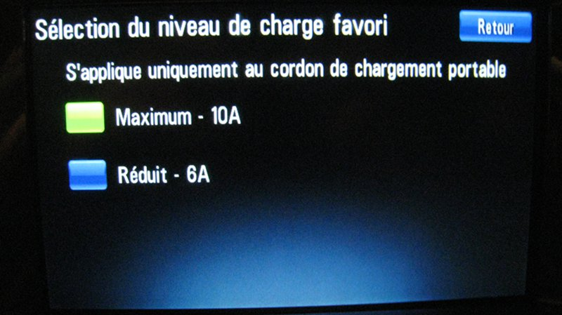 Ecran de selection de vitesse de charge