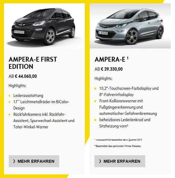 Prix Opel Ampera-e Allemagne